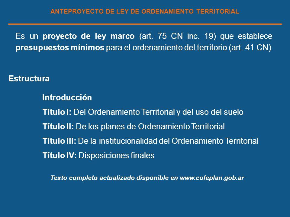 ANTEPROYECTO DE LEY DE ORDENAMIENTO TERRITORIAL