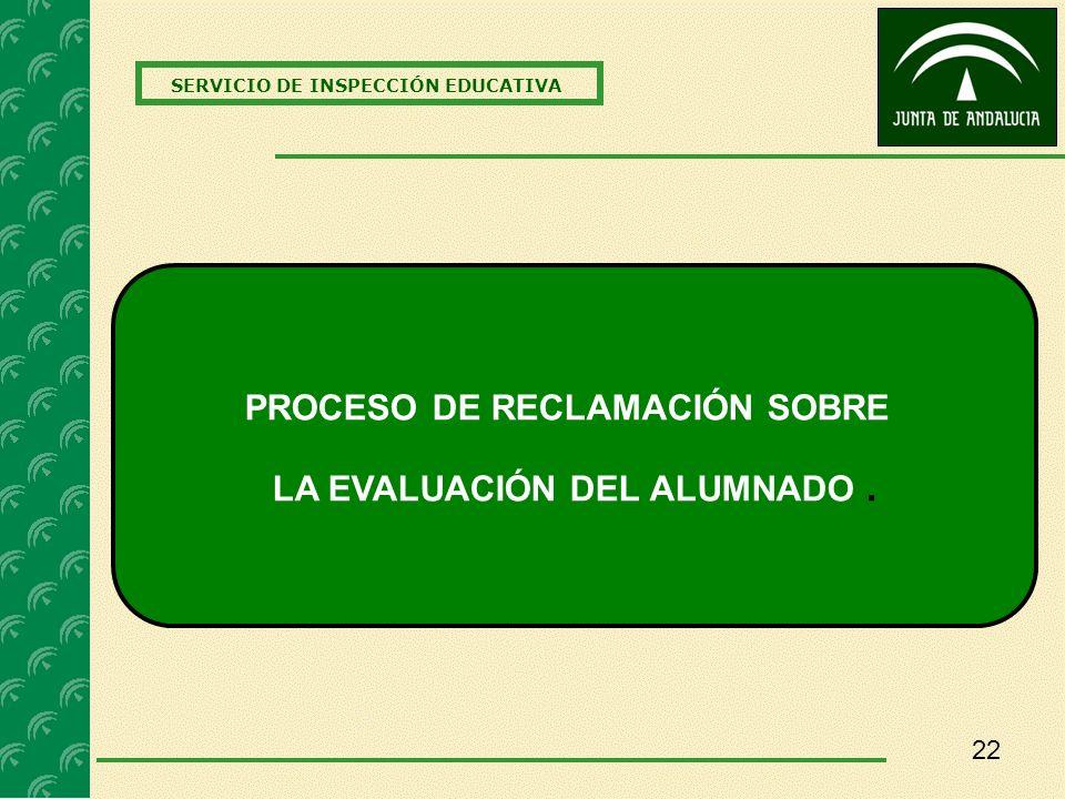 PROCESO DE RECLAMACIÓN SOBRE LA EVALUACIÓN DEL ALUMNADO .