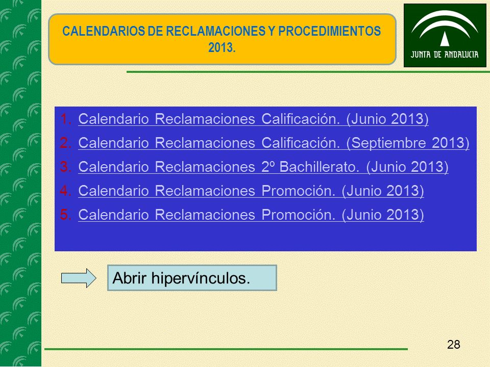 CALENDARIOS DE RECLAMACIONES Y PROCEDIMIENTOS 2013.