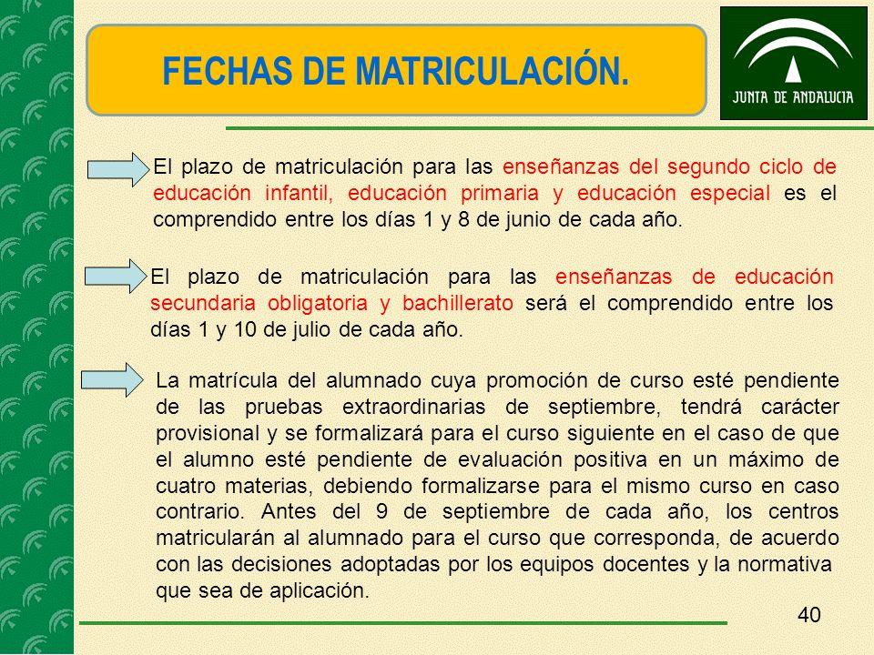FECHAS DE MATRICULACIÓN.