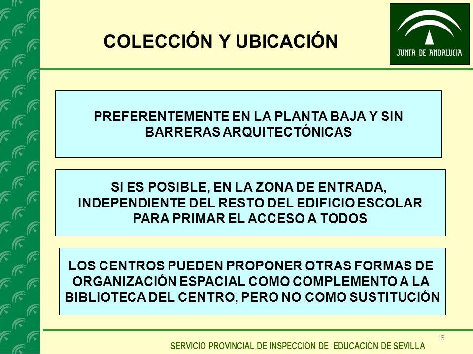 COLECCIÓN Y UBICACIÓN PREFERENTEMENTE EN LA PLANTA BAJA Y SIN