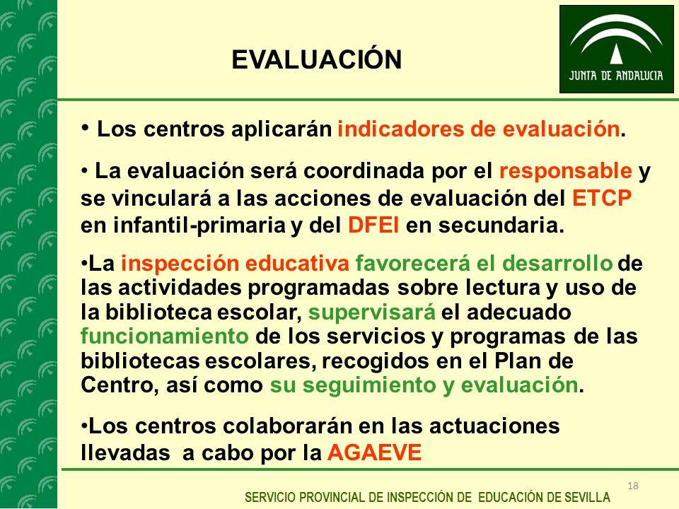 Los centros aplicarán indicadores de evaluación.