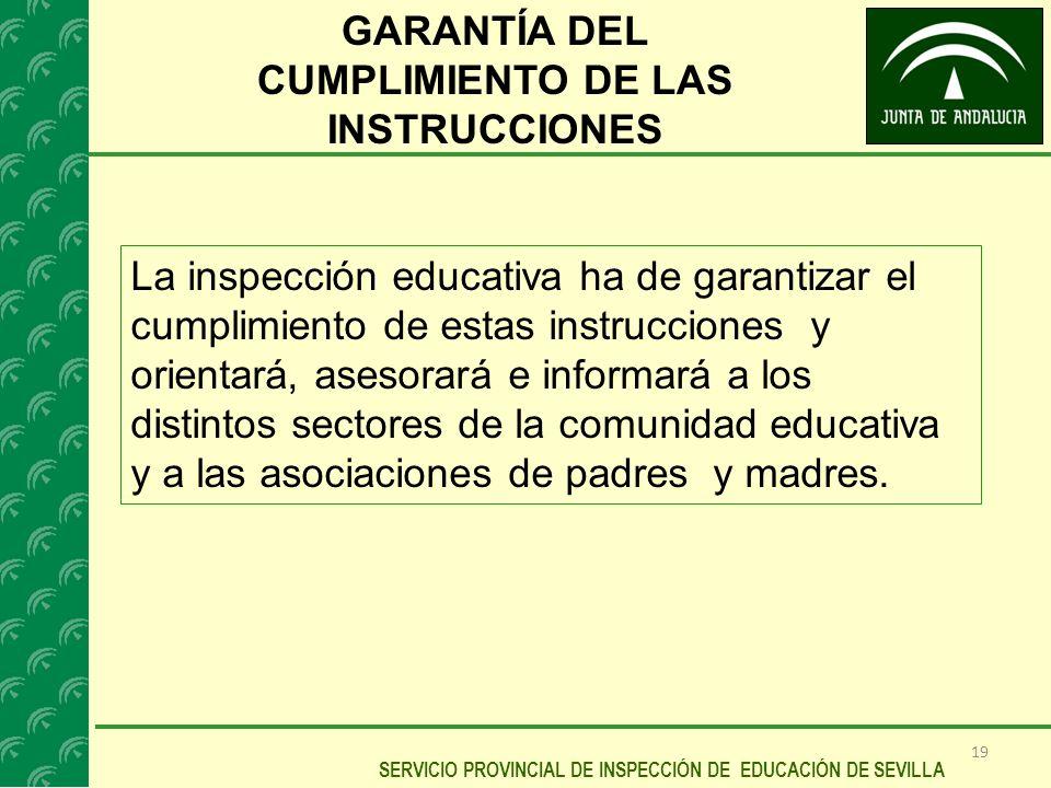 GARANTÍA DEL CUMPLIMIENTO DE LAS INSTRUCCIONES
