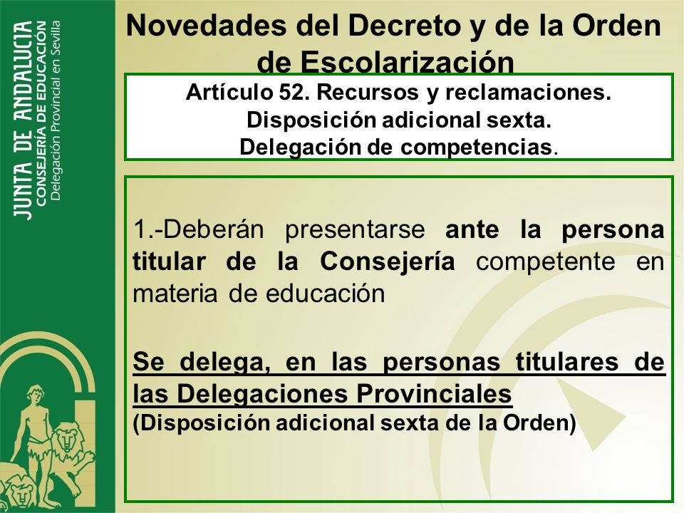 Novedades del Decreto y de la Orden de Escolarización