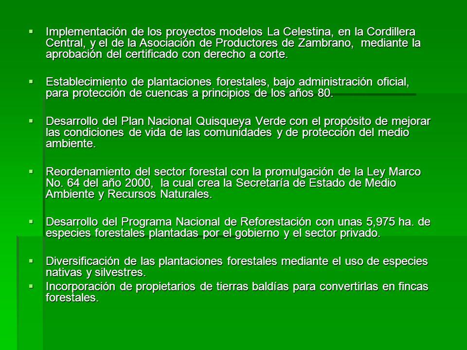 Implementación de los proyectos modelos La Celestina, en la Cordillera Central, y el de la Asociación de Productores de Zambrano, mediante la aprobación del certificado con derecho a corte.