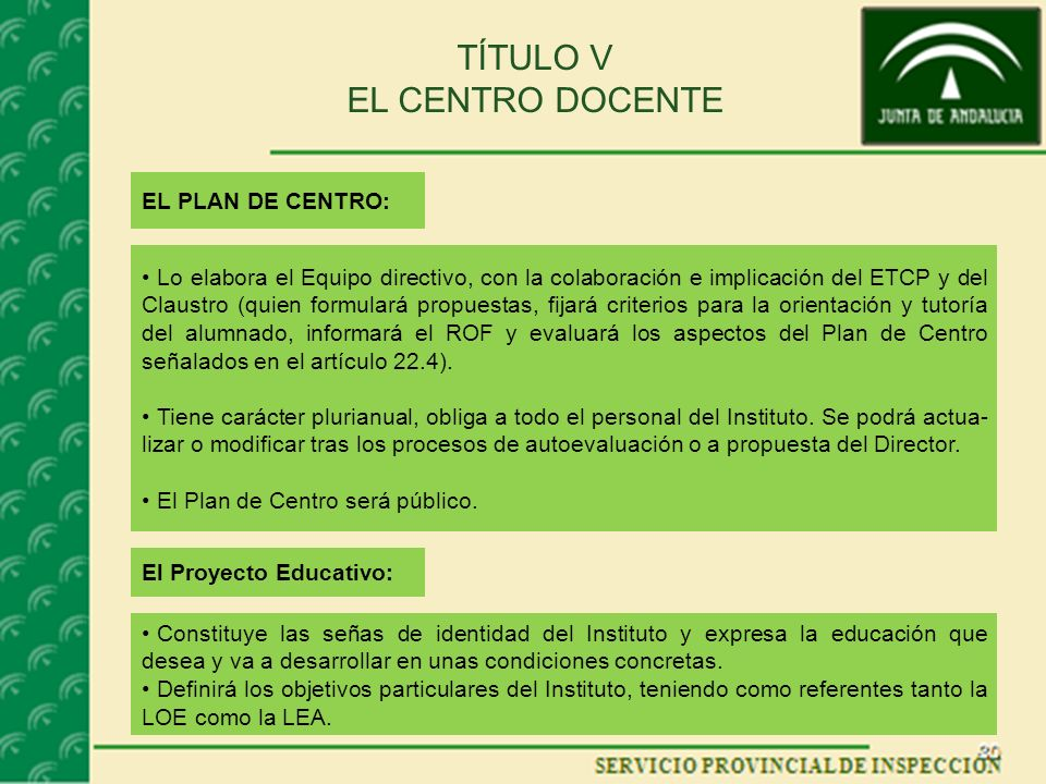 TÍTULO V EL CENTRO DOCENTE EL PLAN DE CENTRO: