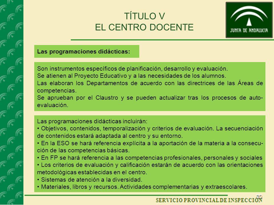 TÍTULO V EL CENTRO DOCENTE Las programaciones didácticas: