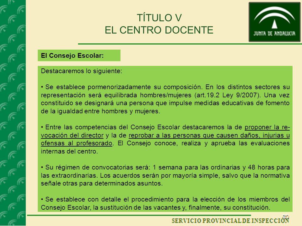 TÍTULO V EL CENTRO DOCENTE El Consejo Escolar: