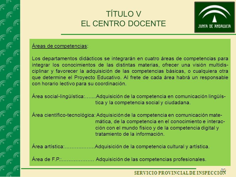 TÍTULO V EL CENTRO DOCENTE Áreas de competencias: