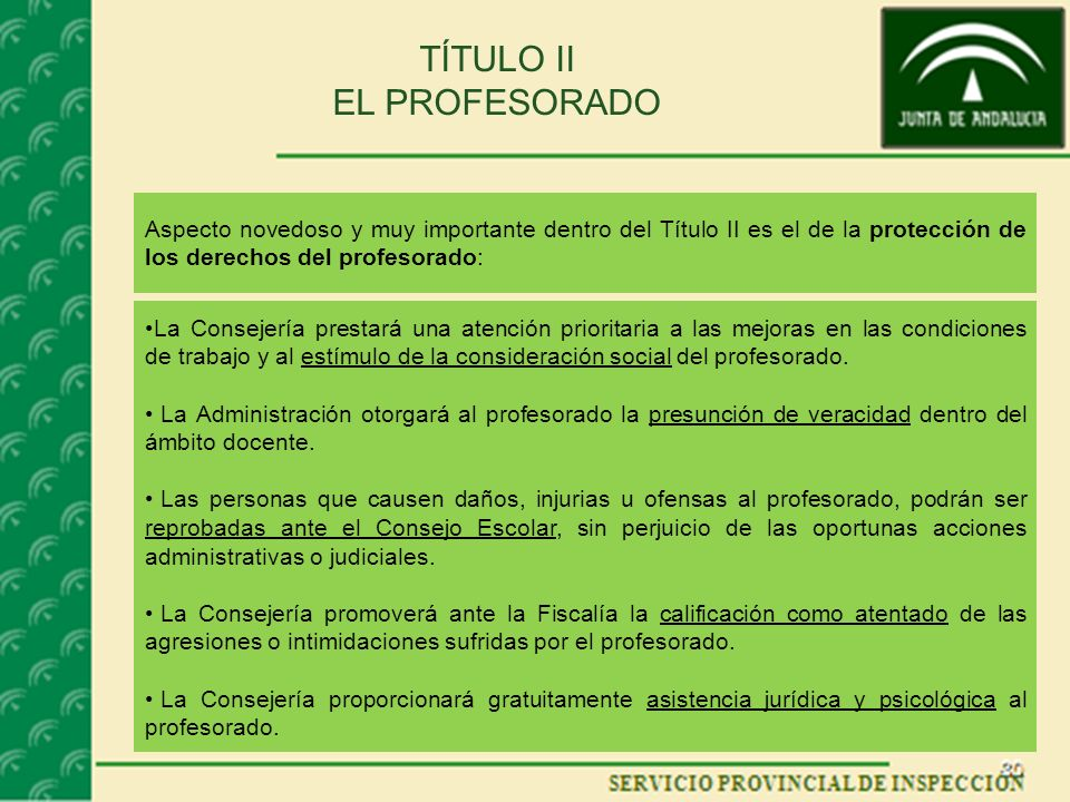 TÍTULO II EL PROFESORADO