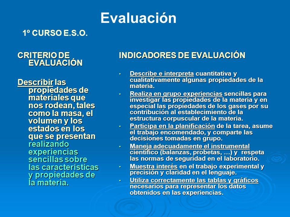 Evaluación 1º CURSO E.S.O. CRITERIO DE EVALUACIÓN