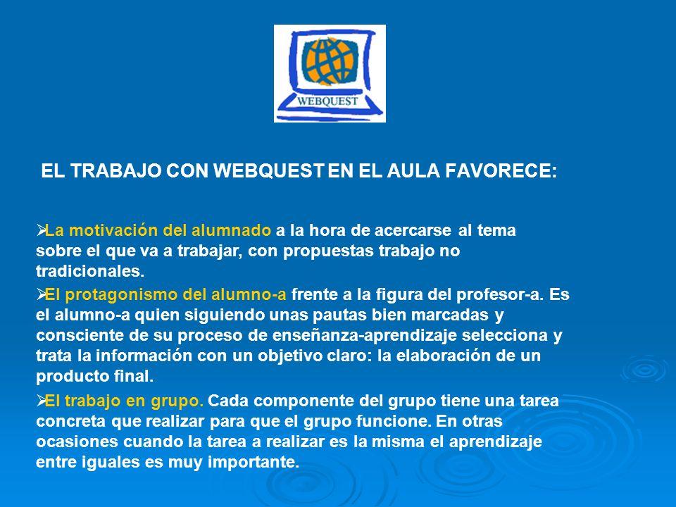 EL TRABAJO CON WEBQUEST EN EL AULA FAVORECE: