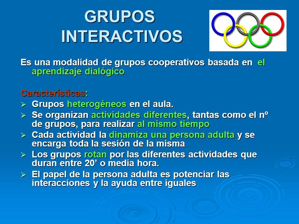 GRUPOS INTERACTIVOSEs una modalidad de grupos cooperativos basada en el aprendizaje dialógico. Características: