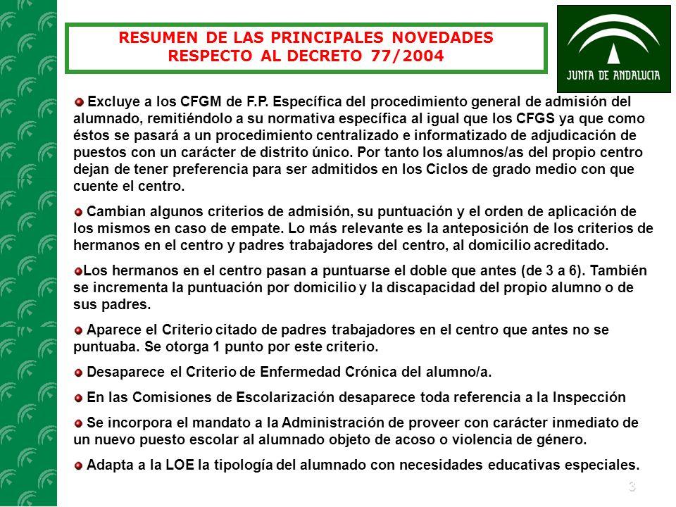 RESUMEN DE LAS PRINCIPALES NOVEDADES RESPECTO AL DECRETO 77/2004