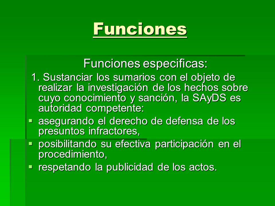 Funciones especificas: