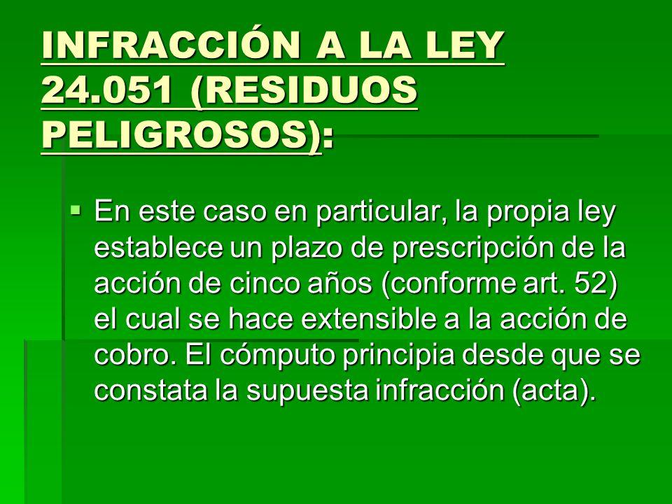 INFRACCIÓN A LA LEY 24.051 (RESIDUOS PELIGROSOS):