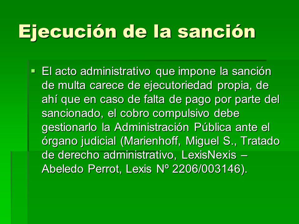 Ejecución de la sanción