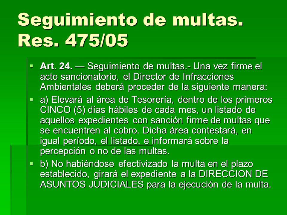 Seguimiento de multas. Res. 475/05