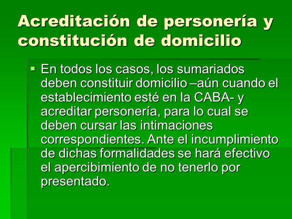 Acreditación de personería y constitución de domicilio