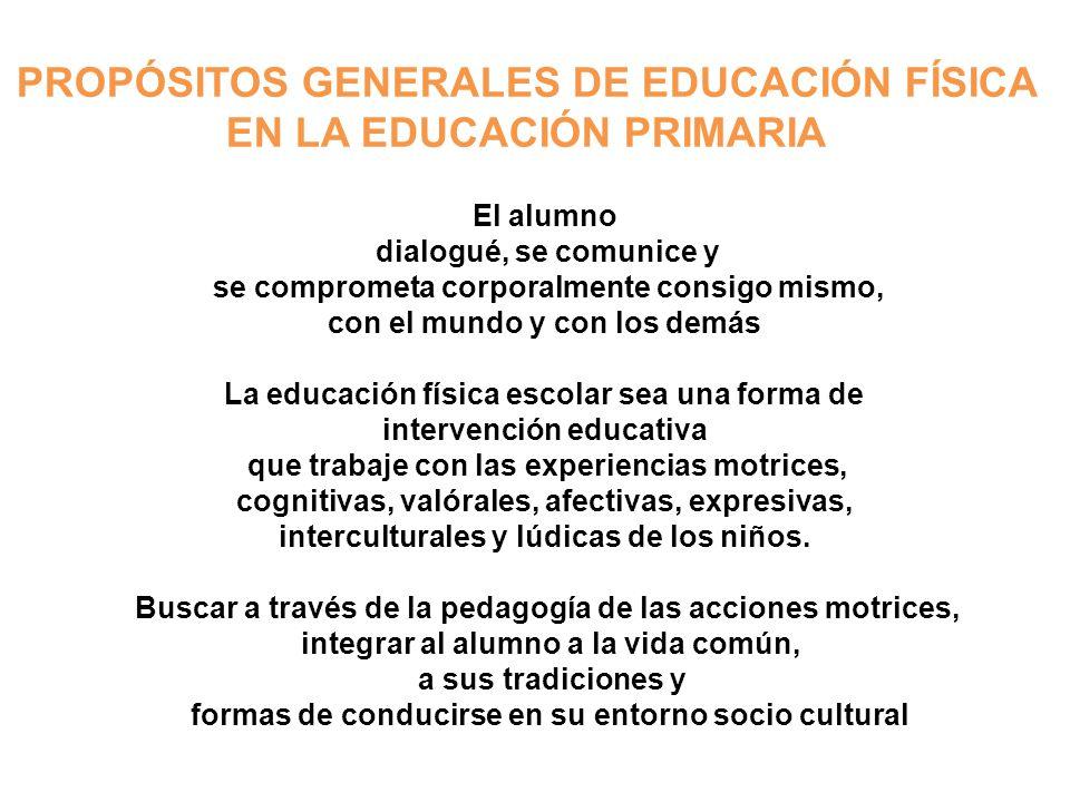 PROPÓSITOS GENERALES DE EDUCACIÓN FÍSICA EN LA EDUCACIÓN PRIMARIA