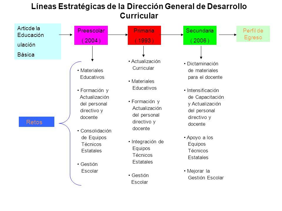 Líneas Estratégicas de la Dirección General de Desarrollo Curricular