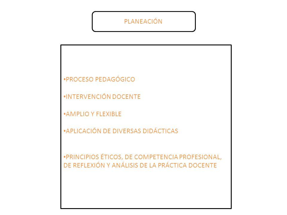 PLANEACIÓN PROCESO PEDAGÓGICO. INTERVENCIÓN DOCENTE. AMPLIO Y FLEXIBLE. APLICACIÓN DE DIVERSAS DIDÁCTICAS.