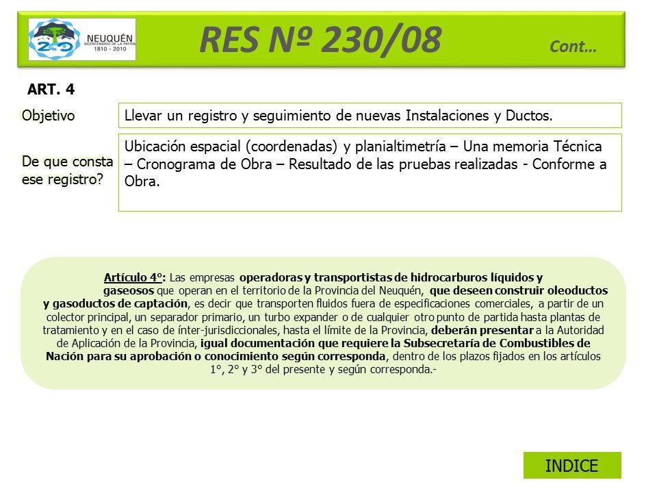 RES Nº 230/08 Cont… INDICE ART. 4 Objetivo