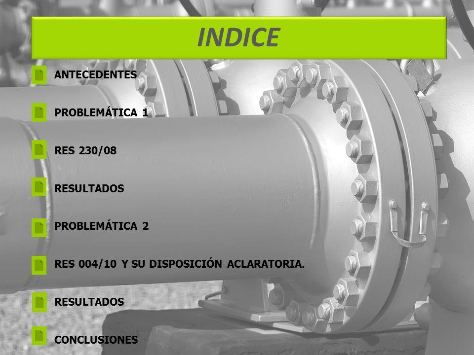 INDICE ANTECEDENTES PROBLEMÁTICA 1 RES 230/08 RESULTADOS