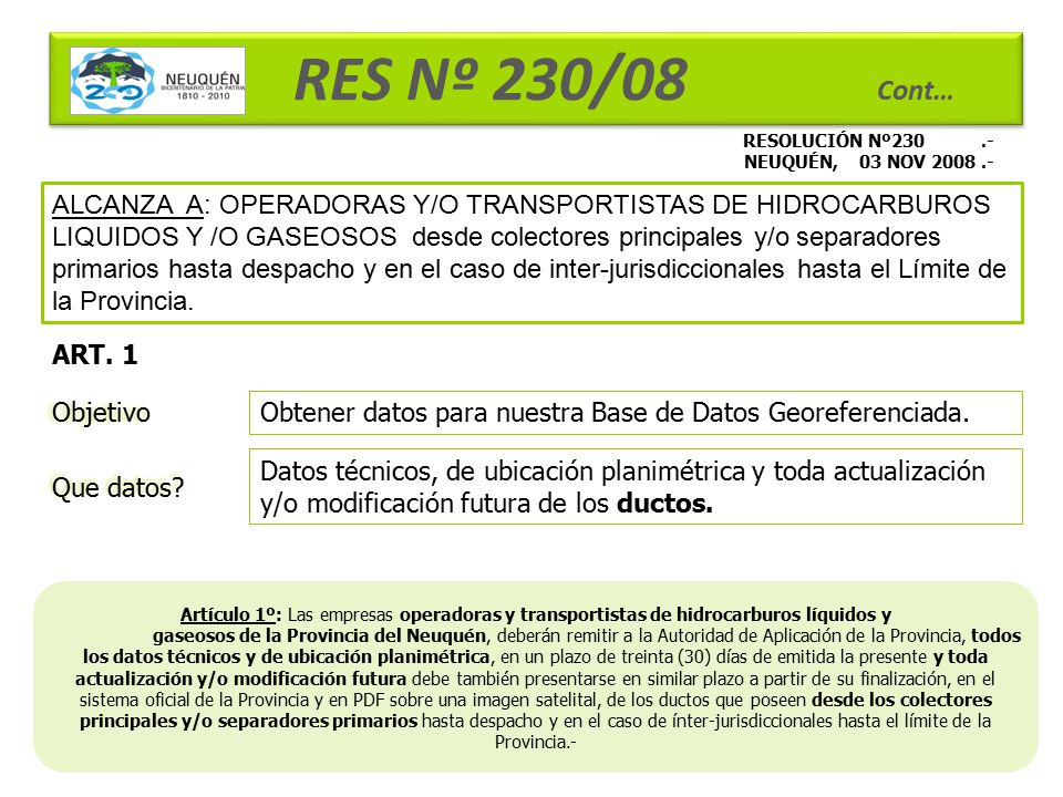 RES Nº 230/08 Cont… RESOLUCIÓN Nº230 .- NEUQUÉN, 03 NOV 2008 .-