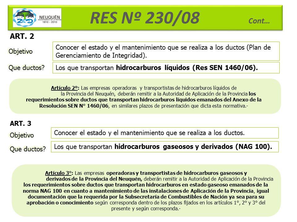 RES Nº 230/08 Cont… ART. 2. Conocer el estado y el mantenimiento que se realiza a los ductos (Plan de Gerenciamiento de Integridad).