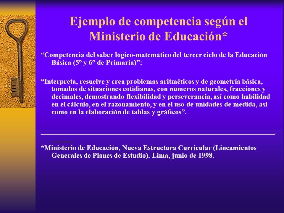 Ejemplo de competencia según el Ministerio de Educación*