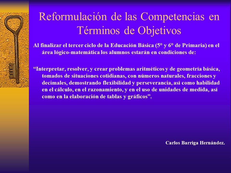 Reformulación de las Competencias en Términos de Objetivos