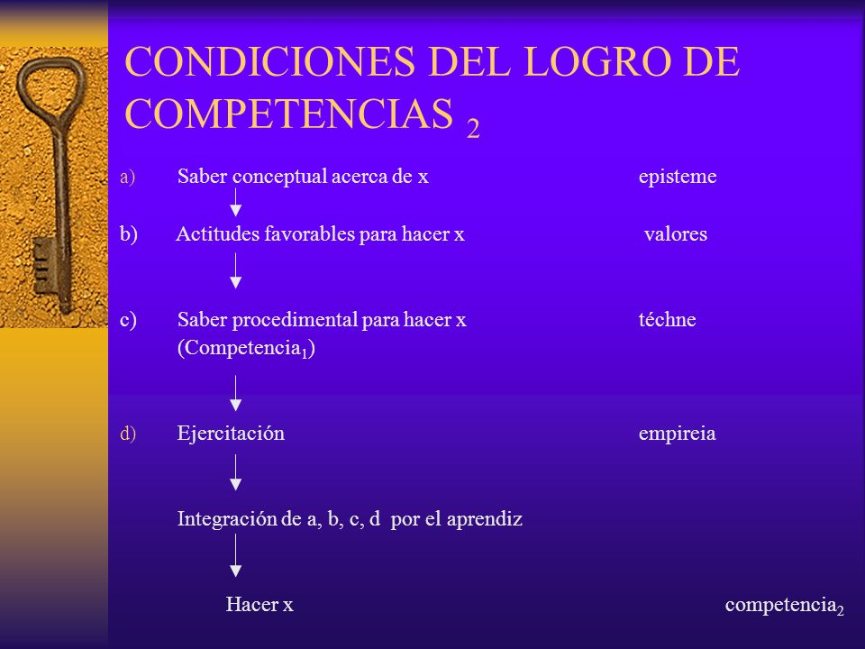 CONDICIONES DEL LOGRO DE COMPETENCIAS 2
