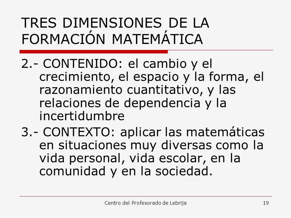TRES DIMENSIONES DE LA FORMACIÓN MATEMÁTICA