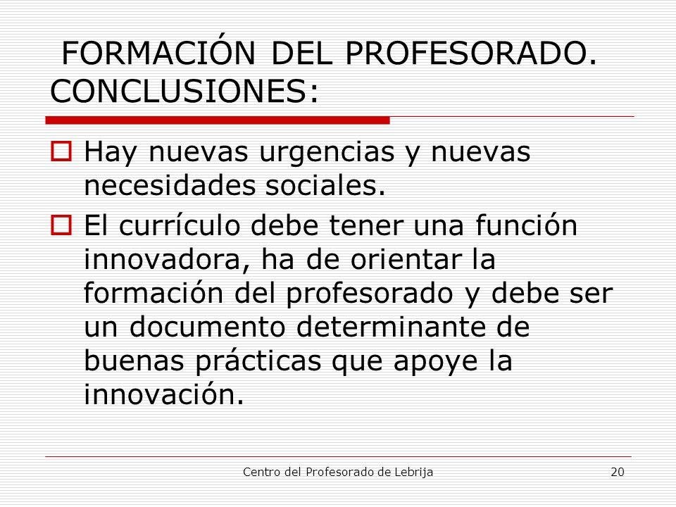 FORMACIÓN DEL PROFESORADO. CONCLUSIONES:
