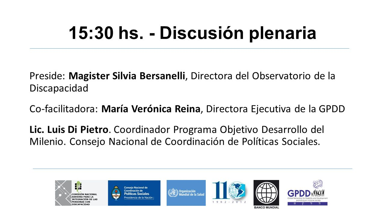 15:30 hs. - Discusión plenaria