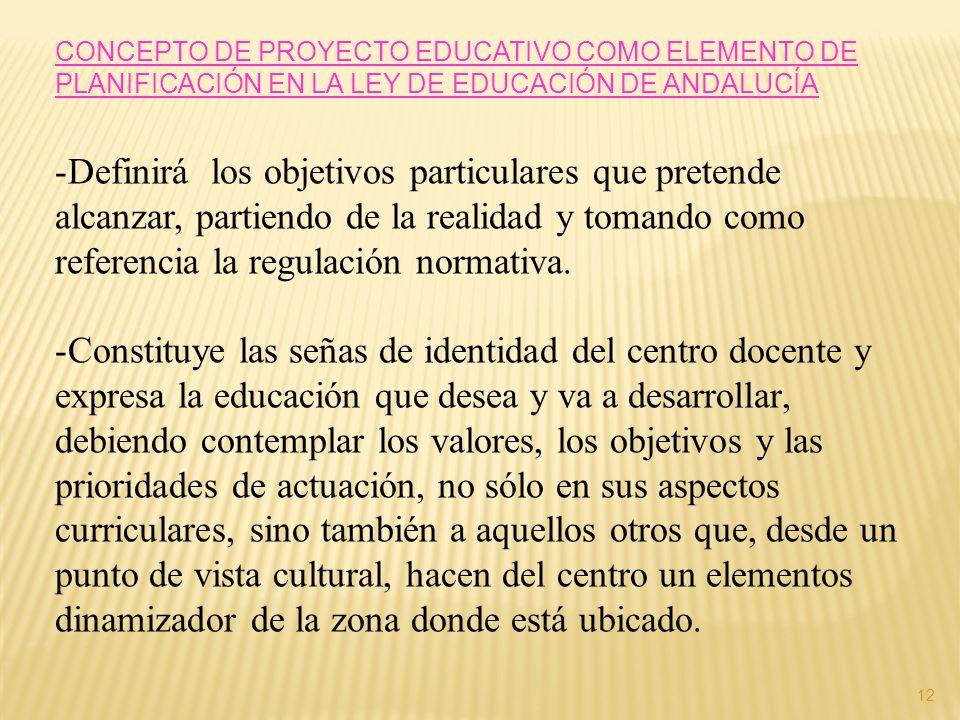 CONCEPTO DE PROYECTO EDUCATIVO COMO ELEMENTO DE PLANIFICACIÓN EN LA LEY DE EDUCACIÓN DE ANDALUCÍA