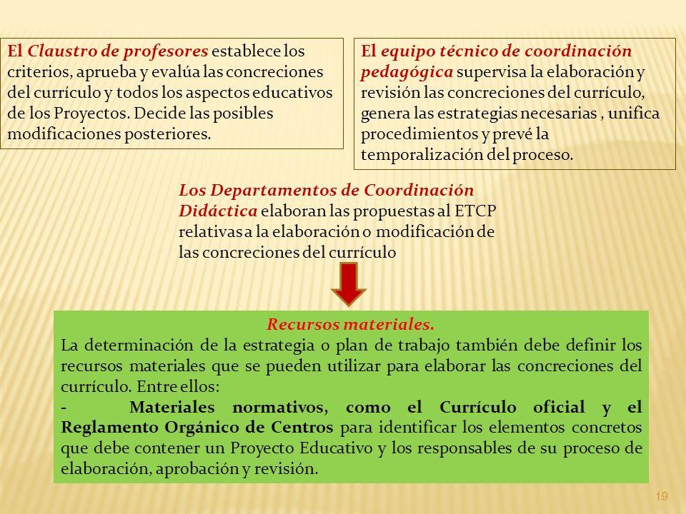 El Claustro de profesores establece los criterios, aprueba y evalúa las concreciones del currículo y todos los aspectos educativos de los Proyectos. Decide las posibles modificaciones posteriores.