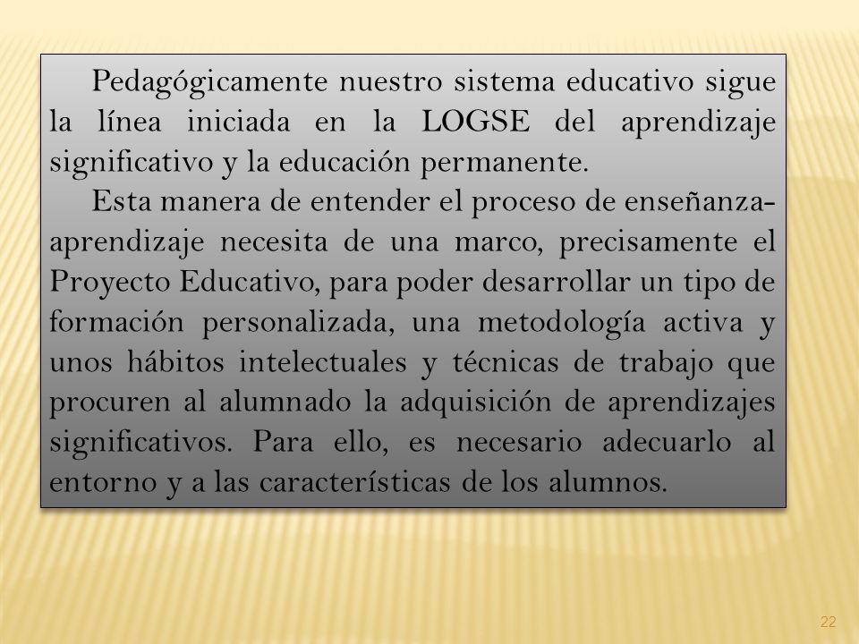 Pedagógicamente nuestro sistema educativo sigue la línea iniciada en la LOGSE del aprendizaje significativo y la educación permanente.