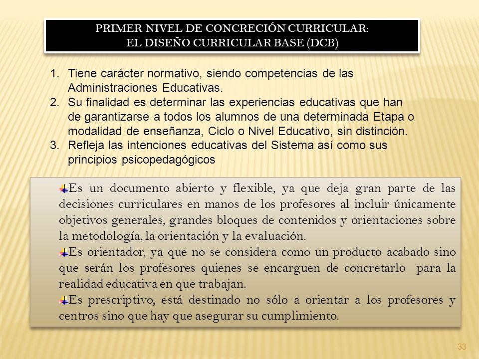 PRIMER NIVEL DE CONCRECIÓN CURRICULAR: