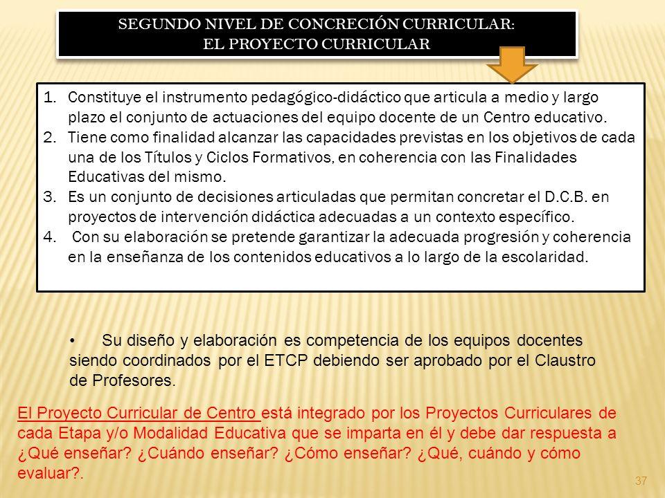 SEGUNDO NIVEL DE CONCRECIÓN CURRICULAR: EL PROYECTO CURRICULAR