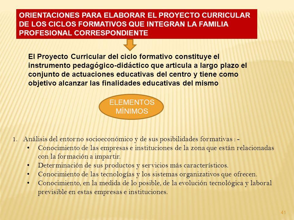 ORIENTACIONES PARA ELABORAR EL PROYECTO CURRICULAR DE LOS CICLOS FORMATIVOS QUE INTEGRAN LA FAMILIA PROFESIONAL CORRESPONDIENTE