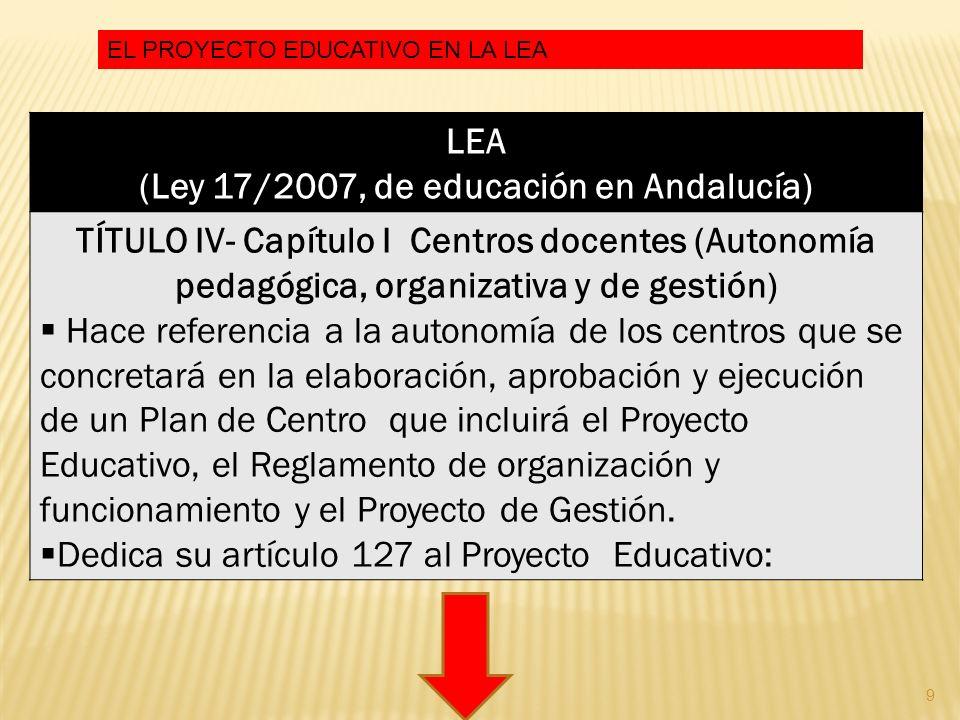 (Ley 17/2007, de educación en Andalucía)
