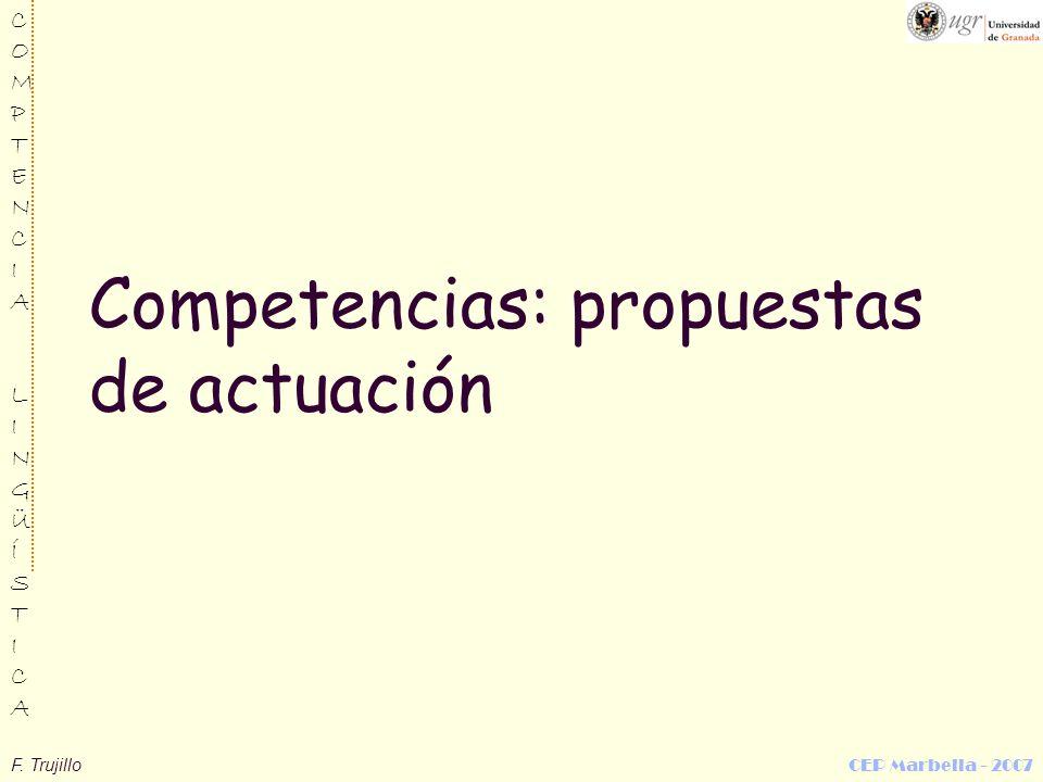 Competencias: propuestas de actuación