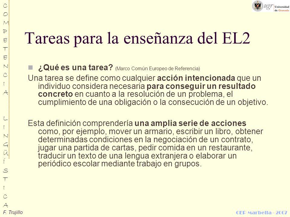 Tareas para la enseñanza del EL2