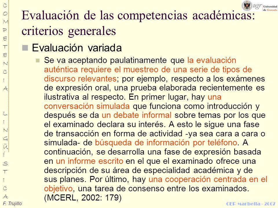Evaluación de las competencias académicas: criterios generales