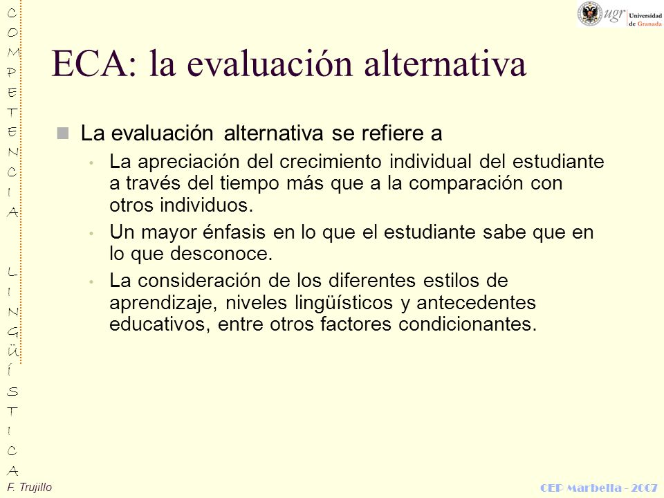 ECA: la evaluación alternativa