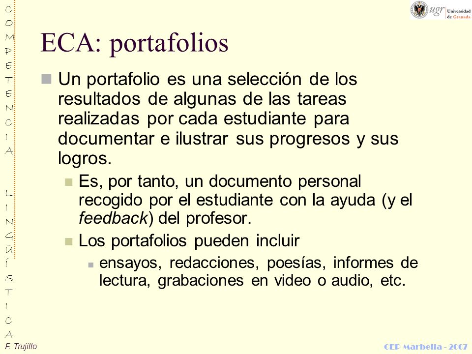 ECA: portafolios