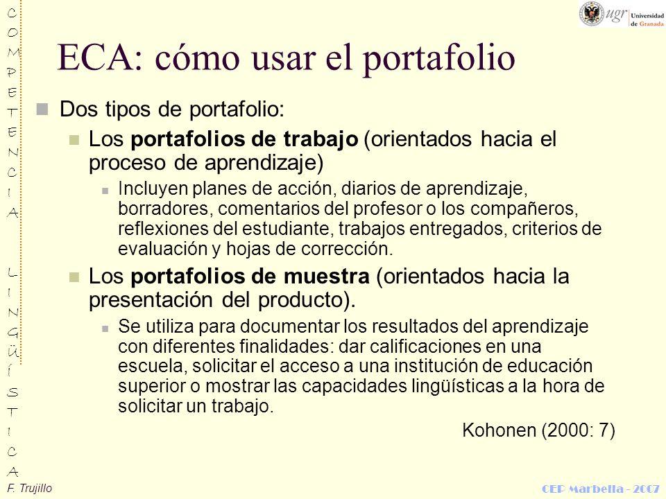 ECA: cómo usar el portafolio