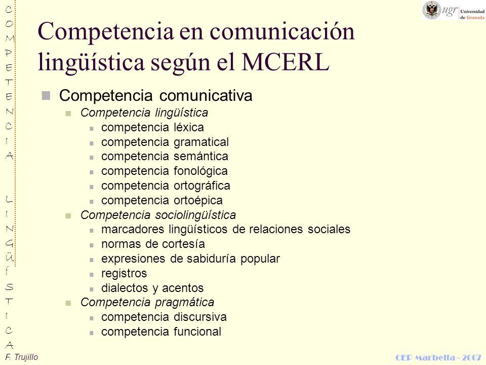 Competencia en comunicación lingüística según el MCERL